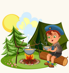 cartoon red-haired boy holding bowl and eating vector image