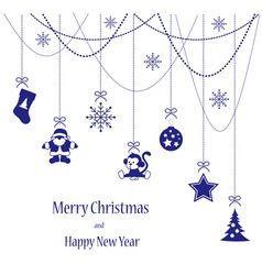Christmas toys blue card for Merry Christmas vector image