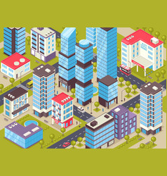 City buildings isometric poster vector
