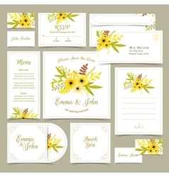 Collection of wedding invitations vector