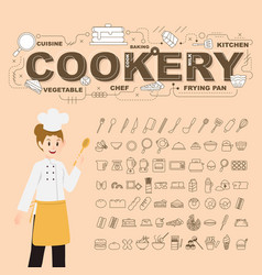 Cookery with food icons set design vector