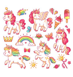 Cute flying baby rainbow unicorn with gold stars vector