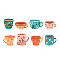 different cups tea cup scandinavian kitchen vector image