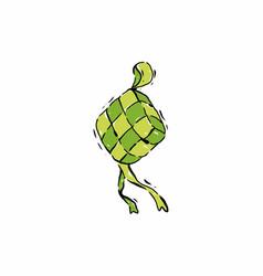 Digital drawing green ketupat vector