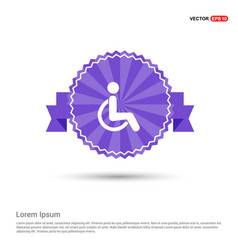 Disabled person icon - purple ribbon banner vector