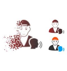 Dissipated dot halftone psychotherapist talking vector