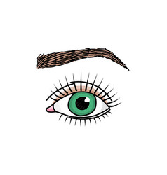 doodle with green eye and brow vector image