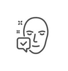 face accepted line icon access granted sign vector image