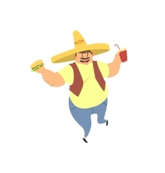 Fat Guy In Mexican Hat vector image