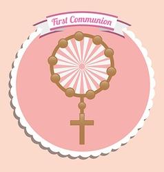First communion card design vector