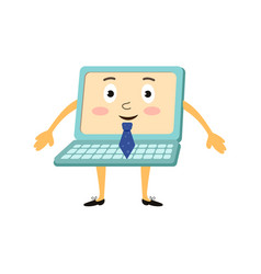 flat funny laptop character businessman vector image