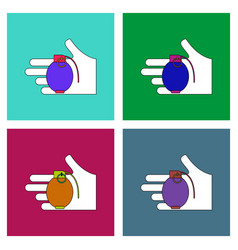 flat icon design collection frag grenade in hand vector image