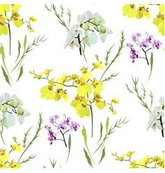Floral seamless pattern with different flowers vector