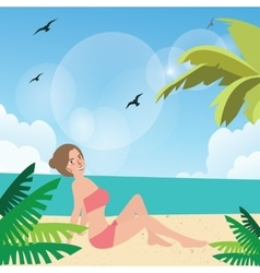 Girl woman pose at beach sand sun tanning wearing vector