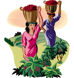 Girls with baskets coffee vector