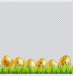 golden easter eggs on a grass on transparent vector image