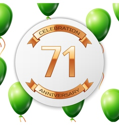 Golden number seventy one years anniversary vector image