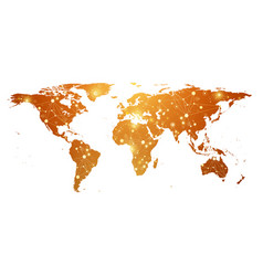 Golden world map with global technology networking vector