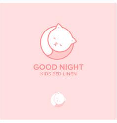 Good night logo bed linen and stuff for sleep vector