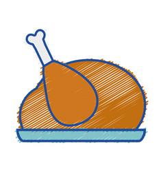 Grated delicious chicken food roast taste vector