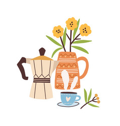 hand drawn morning composition with coffee vector image
