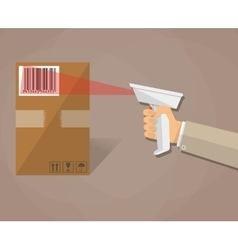 Hand is scanning a box with barcode vector