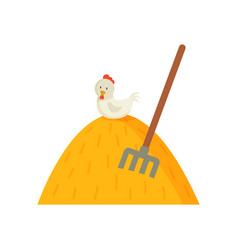 Haystack and white hen on top vector