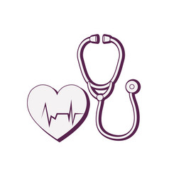 heart cardiology with stethoscope vector image