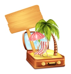Holiday Suitcase with Wooden Board vector