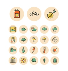 Icons thin red leisure weather vector