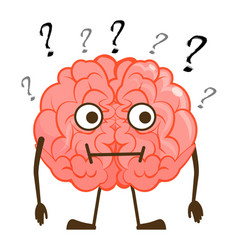 Isolated questioned brain character cartoon mascot vector