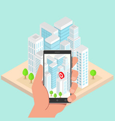 isometric city buildings with gps navigation vector image