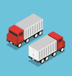 isometric red truck with white trailer vector image