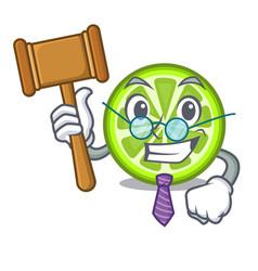 Judge green lemon slices on mascot plate vector