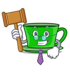 Judge green tea mascot cartoon vector