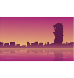 landscape of singapore city skyline silhouettes vector image