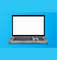 Laptop with a blank screen with a blue background vector