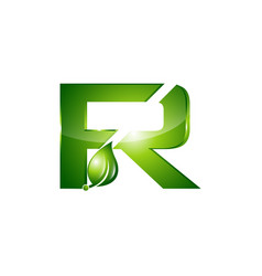 leaf letter r logo design letter r symbol in two vector image