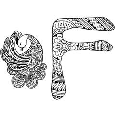 Letter F decorated in the style of mehndi vector