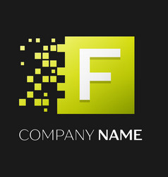 letter f logo symbol in the colorful square vector image