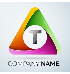 Letter t logo symbol in the colorful triangle vector