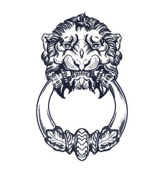 Lion head door knocker hand drawn vector