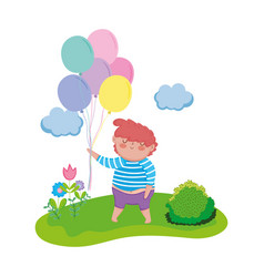 little chubby boy with balloons helium in the vector image