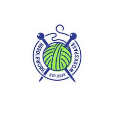 logo needlework ball yarn handmade product vector image