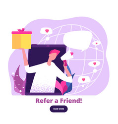 Man with megaphone offers referral gifts digital vector