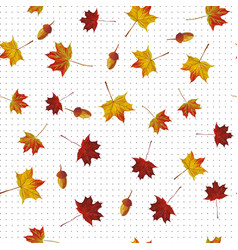maple leaf and acorn seamless pattern white vector image