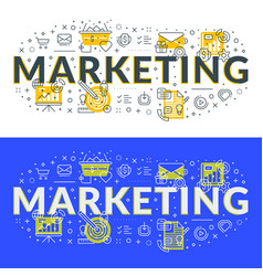 marketing flat line concept for web banner vector image
