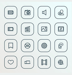 media icons line style set with gadget photo vector image