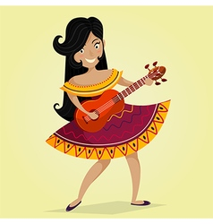 mexican woman playing guitar vector image