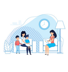 Mother with kids on psychologist consultation vector